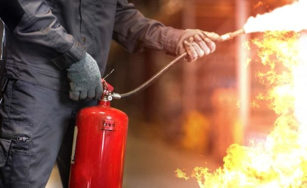 essential fire fighting equipment includes fire extinguisher