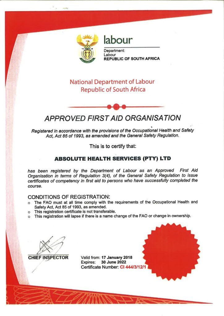 Absolute Health Services - Department of Labour First Aid Training Certificate - May 2021